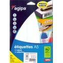 agipa Etiquettes multi-usage, 18,5x 48,5 mm, blanches