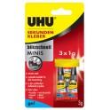 UHU Colle instantanée MINIS GEL, 3 tubes de 1 g