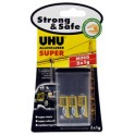 UHU colle instantanée SUPER Strong & SAFE MINIS, 3 tubes de