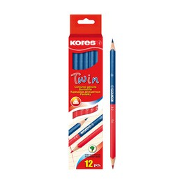 Kores Crayons de couleur TWIN, bleu / rouge, triangulaire
