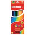 Kores crayons de couleur, étui en carton de 6, 6 côtés