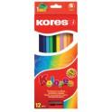 Kores Crayons de couleur, étui en carton de 12 +