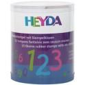 """HEYDA Kit de timbres à motifs """"chiffres"""", boite transparente"""