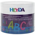 """HEYDA Kit de timbres à motifs """"alphabet"""", boîte transparente"""