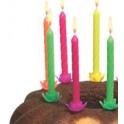 SUSY bougies d'anniversaire neon, en cire, couleurs néon