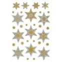 """HERMA Sticker de Noël DECOR """"étoiles"""", argent/or"""