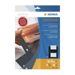 HERMA Pochettes transparentes A4 Fotophan, pour photos 13x18